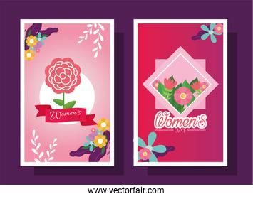Womens day with flowers cards vector design