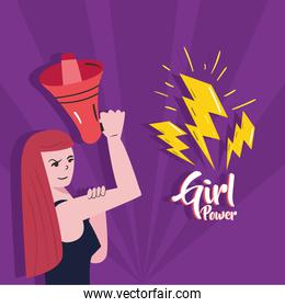 Girl power strong woman cartoon with megaphone and thunders vector design