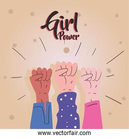 Girl power fists hands up