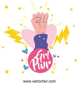 Girl power fist hand up on heart with thunders vector design