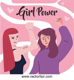 Girl power strong and with fist up women cartoons vector design