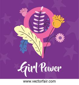 Girl power female gender with flowers and leaves