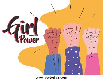 Girl power three fists hands up vector design