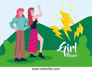 Girl power strong and with fist up women cartoons outside vector design