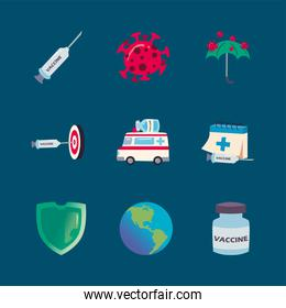 covid 19 virus vaccine icon collection vector design
