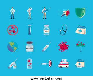 covid 19 virus vaccine icon bundle vector design