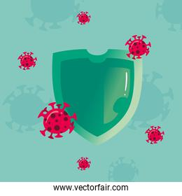 covid 19 virus shield vector design