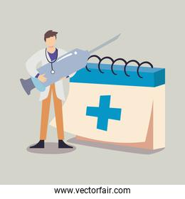 doctor man with covid 19 virus vaccine injection and calendar vector design