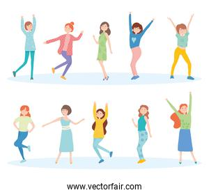 icon set of happy women dancing, colorful design