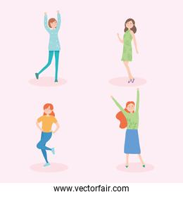 collection of happy women dancing, colorful design