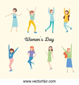 womens day design with icon set of happy womens, colorful design
