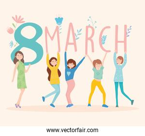 womens day design with cartoon women holding 8 march date, colorful design