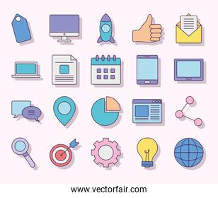 collection of digital marketing, flat style