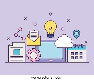 digital marketing design with related icons, flat style