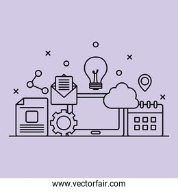 digital marketing design with related icons, line style