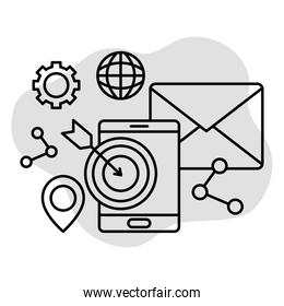 design of digital marketing with related icons, line style
