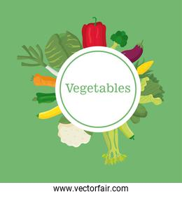 set of vegetables healthy food in circular frame icons