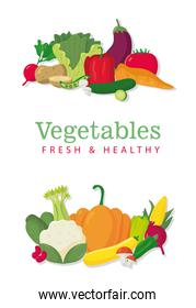 bundle of vegetables healthy food icons and lettering