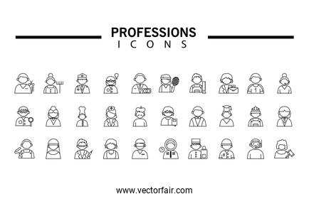 group of thirty professionals workers with differents occupations and lettering