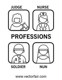 group of four professionals workers with differents occupations line style