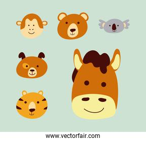 bundle of six cute little animals heads characters