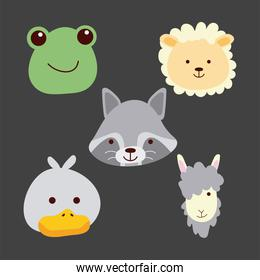 bundle of five cute little animals heads characters