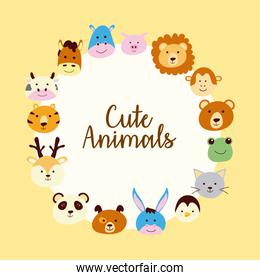 bundle of cute little animals heads characters in circular frame