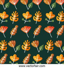 leaves line style icon set background vector design