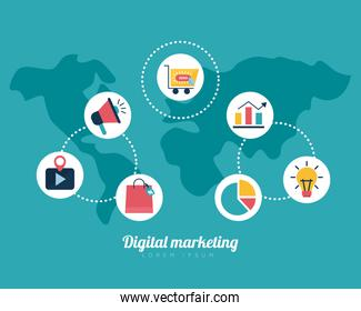Digital marketing map and flat style icon set vector design