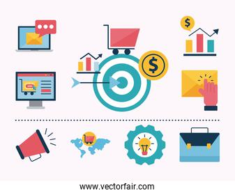 Digital marketing flat style icon collection vector design