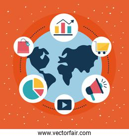 Digital marketing world with flat style icon collection vector design