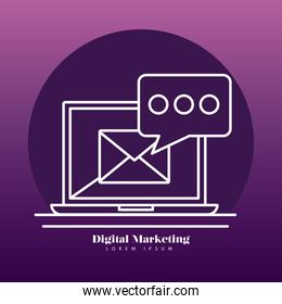 Digital marketing laptop with envelope and line style icon set vector design