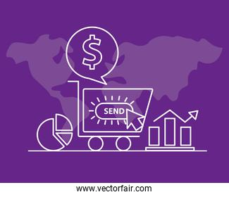 Digital marketing cart and line style icon set vector design