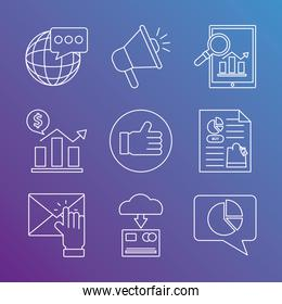 Digital marketing tablet and line style icon set vector design
