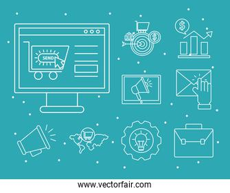 Digital marketing line style icon collection vector design
