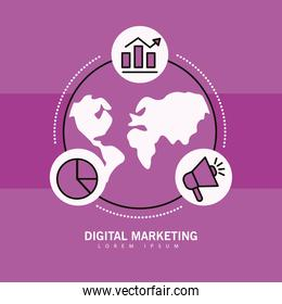 Digital marketing world with line style icon collection vector design
