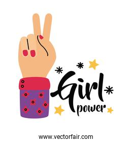 Girl power love and peace hand vector design