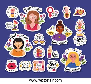 Girl power stickers icon set vector design