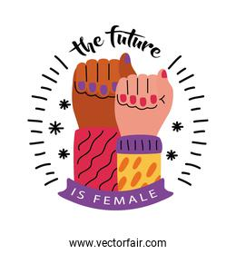 Girl power fists up vector design