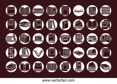 books in circles silhouette style icon set vector design