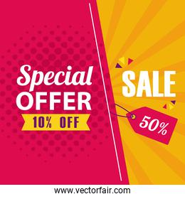 special offer and sale banner vector design