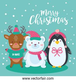 cute merry christmas card with cute animals