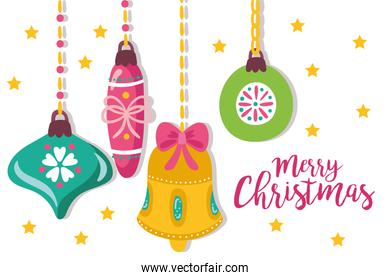 cute merry christmas card with decoration hanging