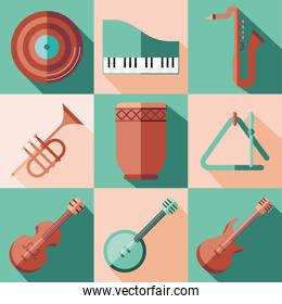 music instruments icon collection vector design