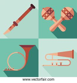 music instruments symbol collection vector design