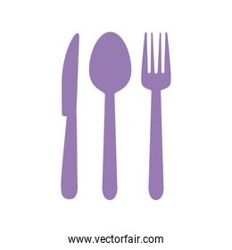 cutlery such as spoon, fork and knife