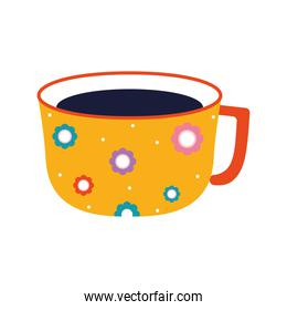 cup of tea with a yellow color and flowers