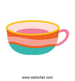 cup of tea with a lines of different color and dots