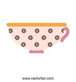 cup of coffee with pink color and flowers
