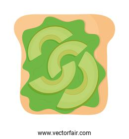 bread with guacamole and avocados in the top of it